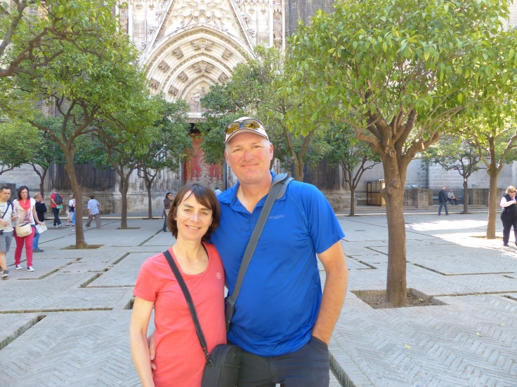 A friendly fellow tourist offered to take our photo in the orange courtyard