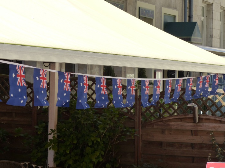 Flags outside a restaurant in Amiens