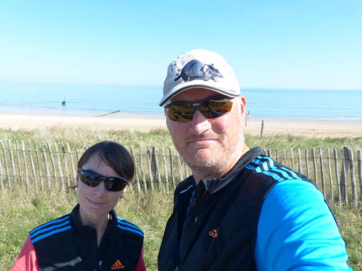 Elevenses with Sword Beach behind us