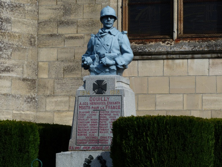 Another interesting WWI memorial in one of the villages. The soldier is holding a grenade in his hand