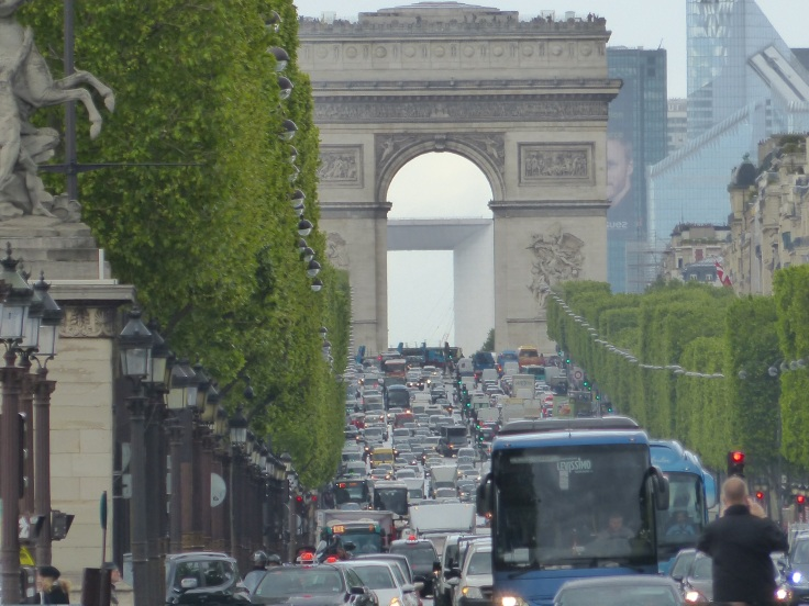 Looking up the Champs-Elysees
