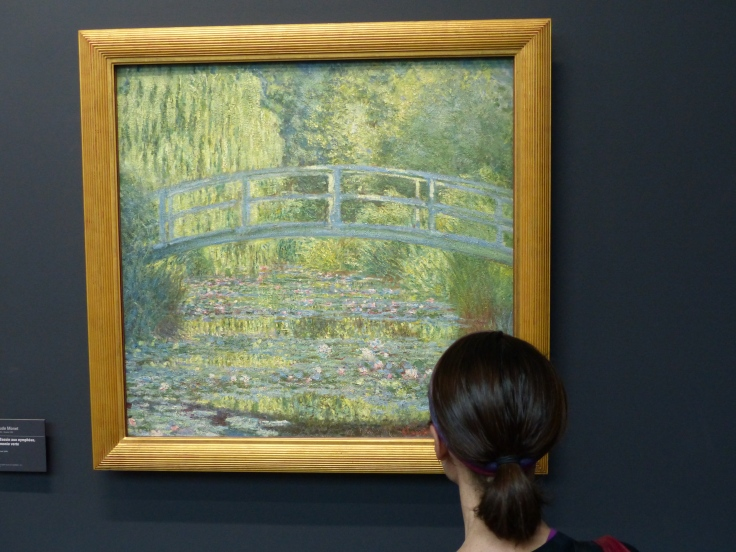 Enjoying a close up inspection of a favourite Monet