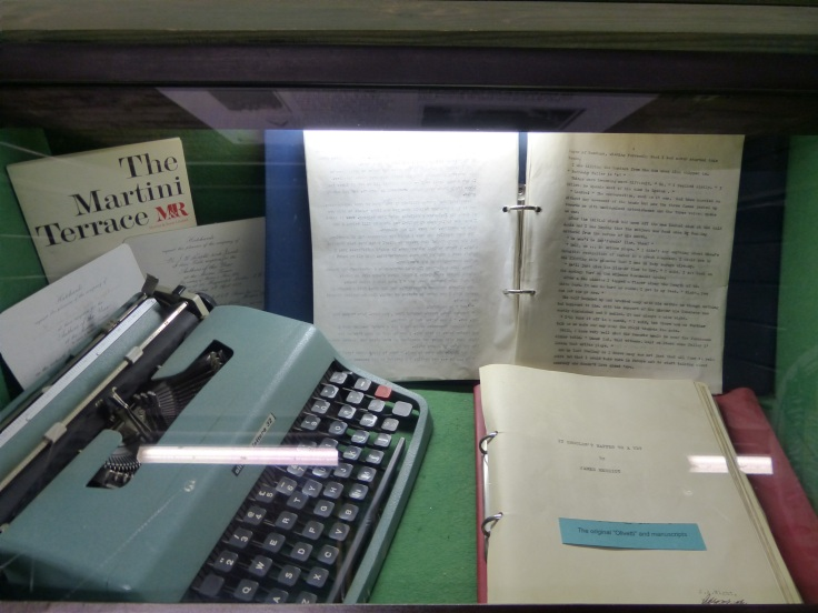 His original manuscript and the trusty old typewriter