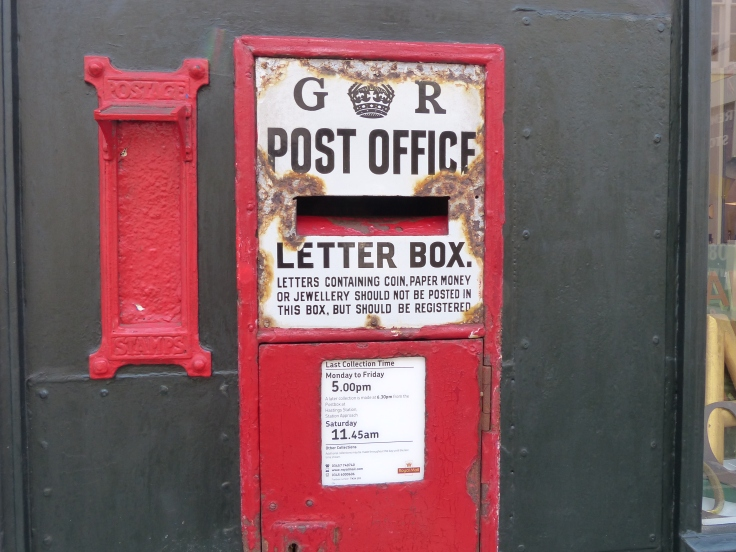 The letters give an indication of the age of this postbox. Not E R for Elizabeth Regina, but G R for King George Regina.