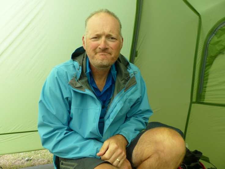 This is the face that returned to the tent after venturing outside. It's raining again!
