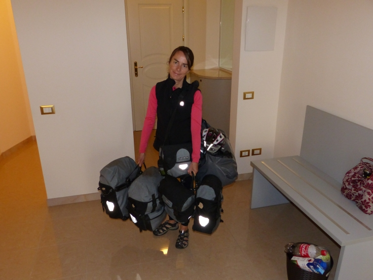 The pack horse. This can be a bit of a trial when we stay at hotels that don't have elevators. We've had to lug this up many flights of stairs! I prefer rolling up to the front door of the tent!