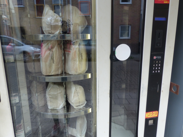 All the shops are closed on Sunday, so here is the solution to any need for Sunday supplies - the bread vending machine! Great idea!