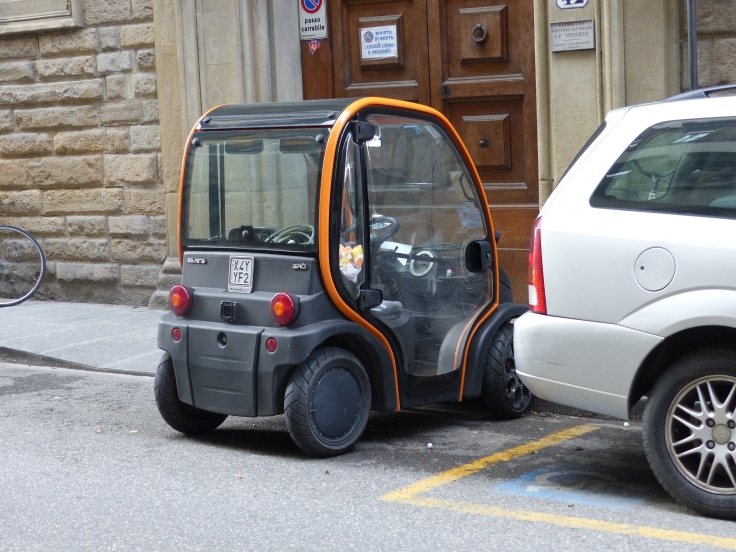 When you drive a car the size of a roller skate you can park anywhere!