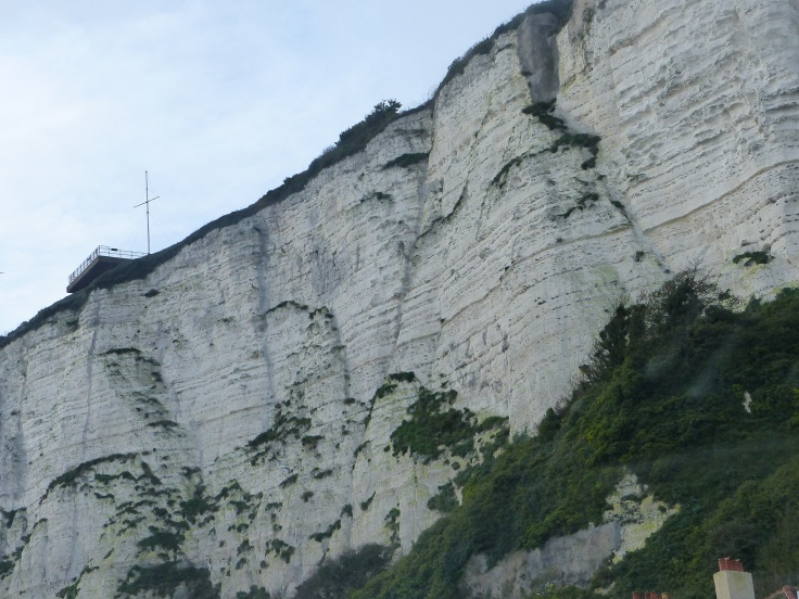 A view of the white cliffs from land