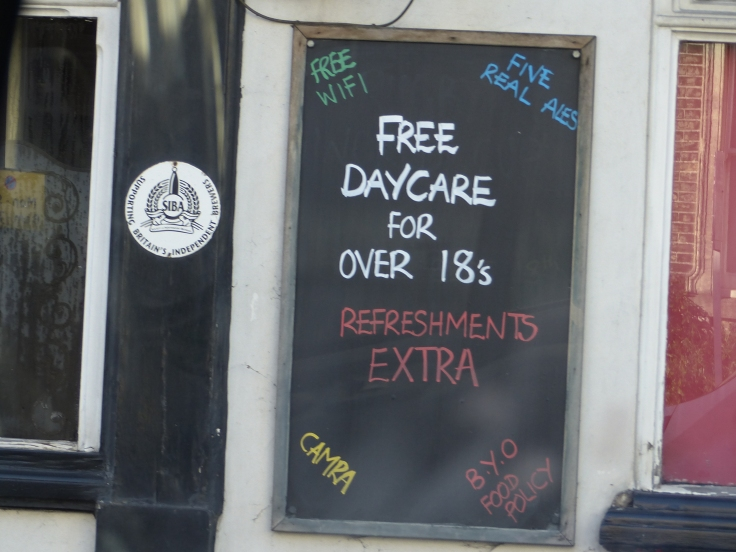 We're back in the land of signs with a sense of humour! This was outside a pub.