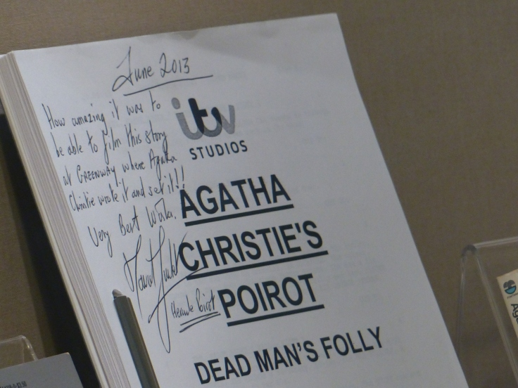 A script signed by David Suchet who played Poirot