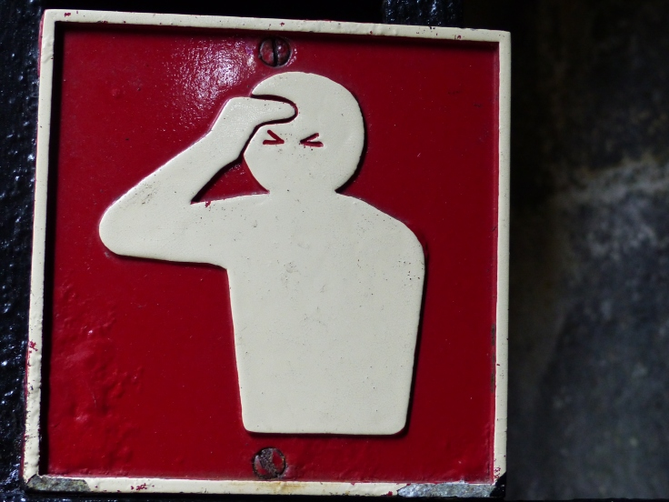 I think this warning sign was modelled on Steve. He knocks his head a lot!