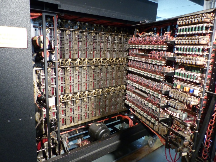 The inner working of the Bombe machine. That was inside someone's head!