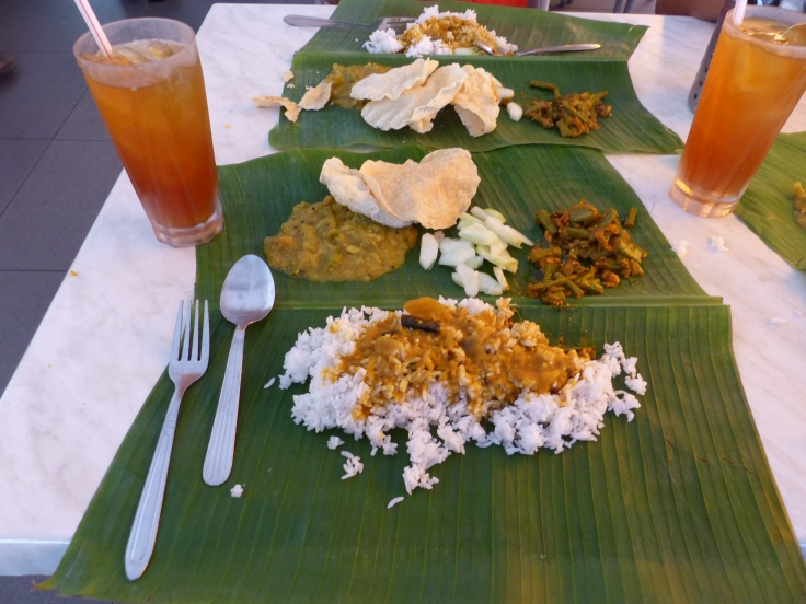 Our banana leaf lunch