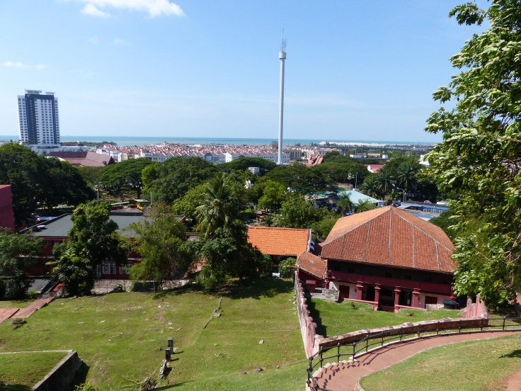 The view across the city to the Straits of Melaka